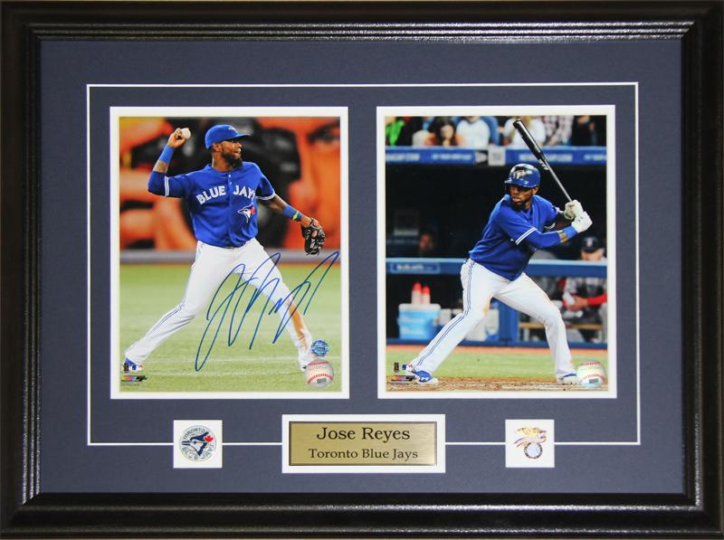 Jose Reyes Toronto Blue Jays Signed 2 Photo MLB Baseball Collector Frame