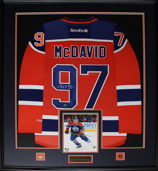 Connor McDavid Edmonton Oilers Signed Jersey NHL Hockey Collector Frame