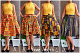 240-B Mid Length Kente Skirt- Orange/Green