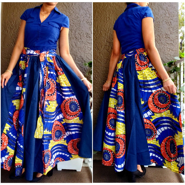 DENIM/ PRINTED LONG MAXI SKIRT