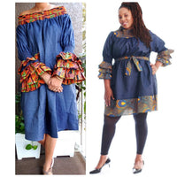703D-Woman's Mid-Length Off Shoulder Dress- Denim/Kente