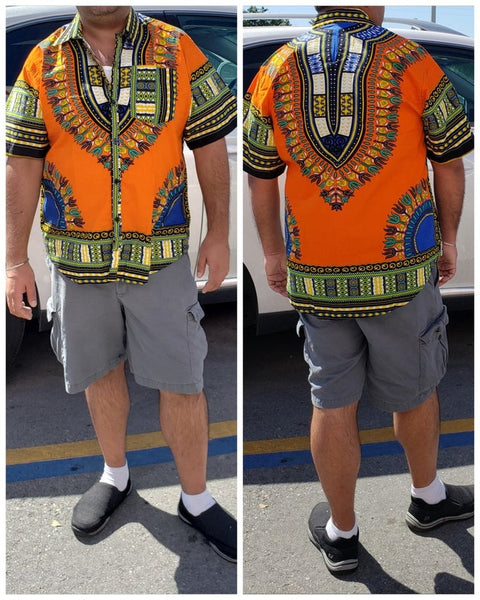 #586- Unisex Button Down Shirt- Dashiki Orange