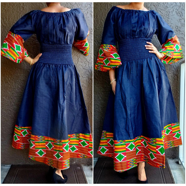 #304 WOMAN SMOCK WAIST DENIM DRESS