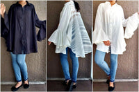 #651 solid long sleeve blouse.