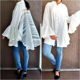 #651 Solid Long Sleeve Blouse - White