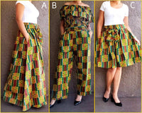 #240- Women  Mid Length Skirt- Yellow Kente
