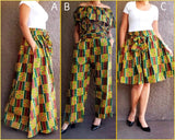 #420- Women Long Maxi Skirt- Yellow Kente