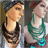 Beaded Layered Necklace & Earrings Set