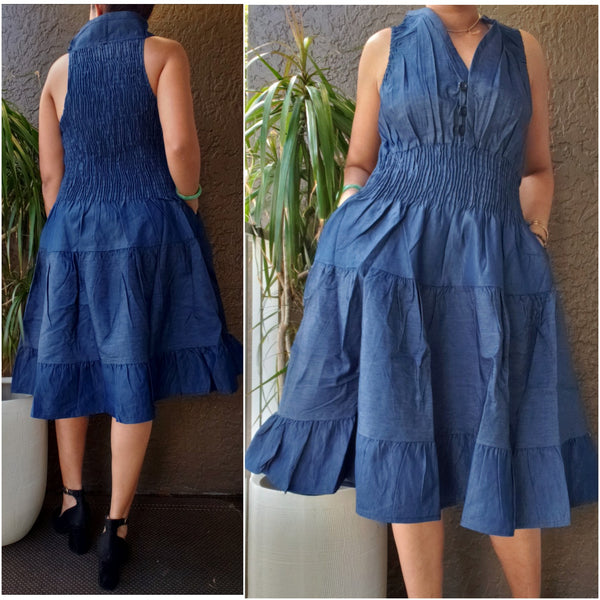 #3028 Women Mid Length  Denim Dress