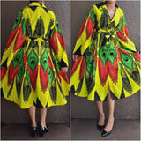 161  Collard Button Down Dress- Rasta