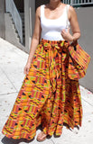 Women Skirt & Pocketbook Set- Orange Kente