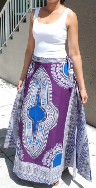 6006- Women Long Wrap Skirt- Dashiki Print