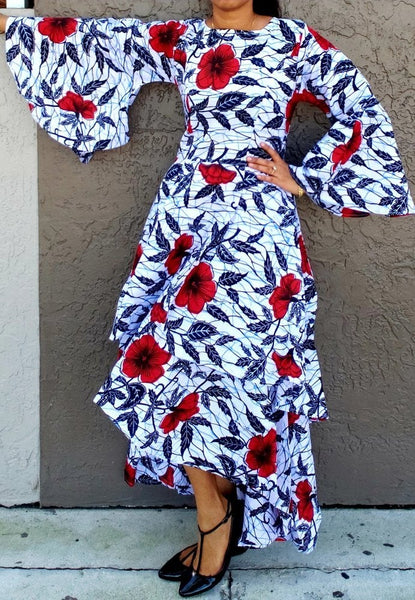 #7077 BELL SLEEVE LAYERED DRESS / PRINTED