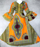 WRAP AROUND DASHIKI DRESS/ LONG RUFFLED SLEEVES.