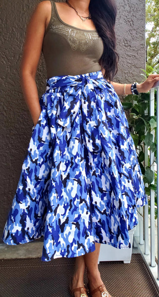 R36 - Woman Mid Length Camouflage Maxi Skirt- Blue