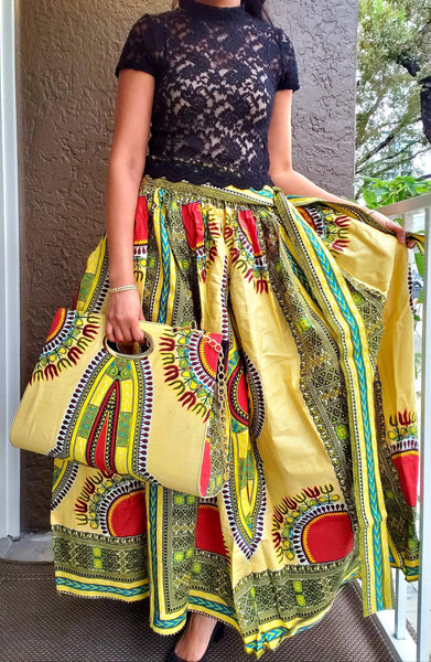 #38 SKIRT & POCKET BOOK SET / DASHIKI