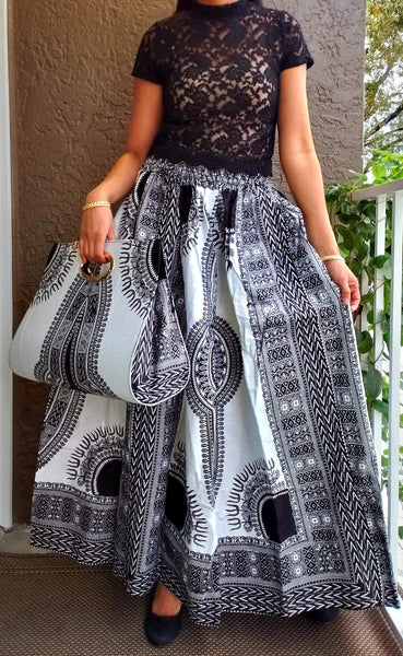 #38 SKIRT AND POCKET BOOK SET - DASHIKI