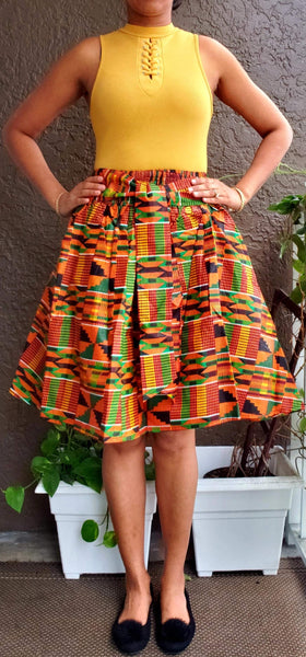 #240 MID LENGTH KENTE MAXI SKIRT