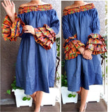 #703D WOMAN MID LENGTH OFF SHOULDER DRESS