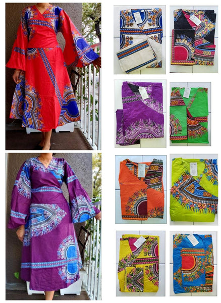 1016 Women's Mid Length Wrap Dress- Purple/Blue Dashiki