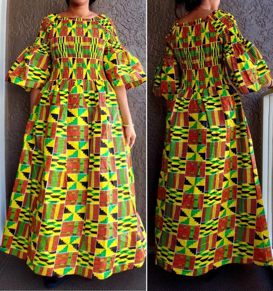024- Women Long Smocked African Kente  Dress - Yellow/ Red