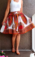 7009 Women Short Skirt Dashiki Skirt- White/ Red