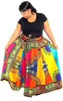 RAINBOW PATCH WORK LONG MAXI SKIRT