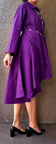 #7042 Solid High/Low Button Down Top/Dress-Purple