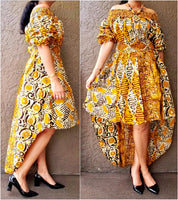 #7285 Women Tube High/ Low Dress- Yellow