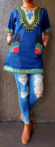 #790 Denim / Dashiki Top