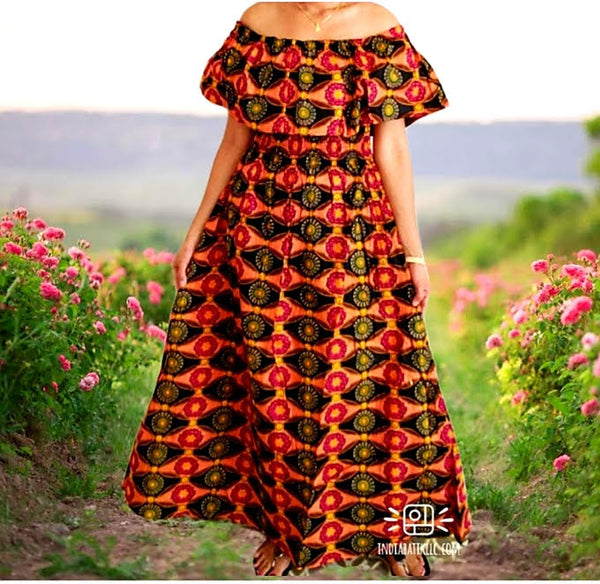 #3014 Women Long Tube Dress-Orange/Black