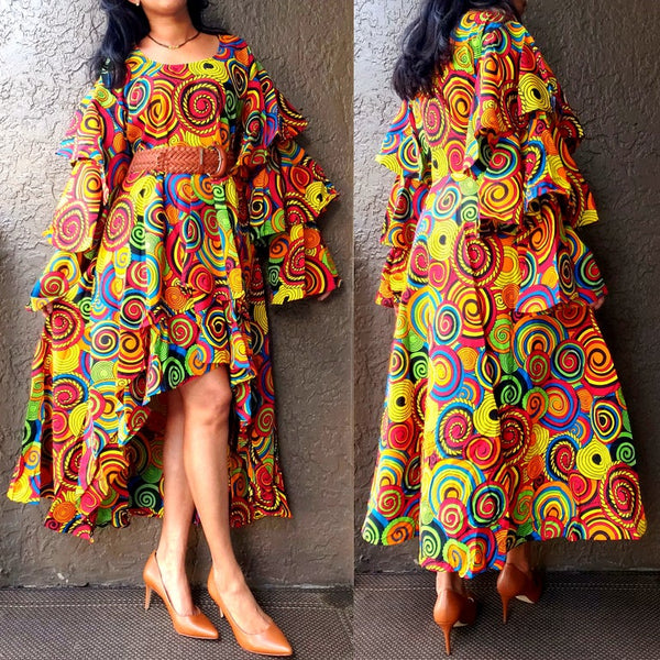 #AA18-177 Ruffled Sleeve Layered Hi/Lo Dress- Fiesta