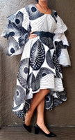 #AA18-177 Ruffled Sleeve Layered Hi/Lo Dress- White/Black