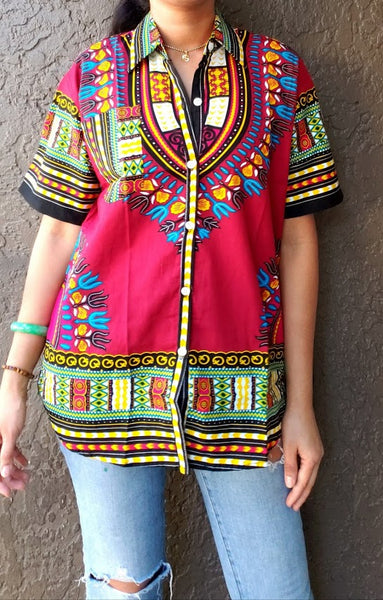 #586- Unisex Button Down Shirt- Dashiki