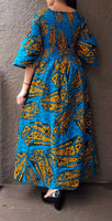 #024 Women Long Smocked Dress-Blue/Yellow