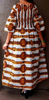 #024 Women Long Smocked Dress-White/Yellow stripe