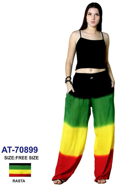 #70899- Women Long Wide Leg Pant-  Rasta Solid
