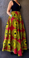 7001 - Woman Long Printed Maxi Skirt- Red/ Yellow