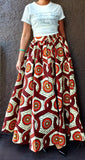7001 - Woman Long Printed Maxi Skirt- Cream/Brown