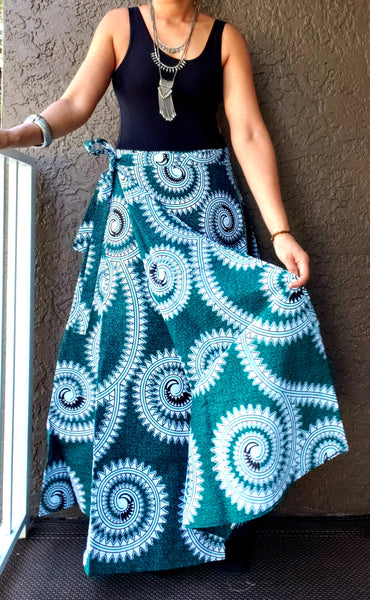 6006- Women Wrap Long skirt- Teal