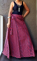 6006- Women Wrap Long skirt-  Red Check