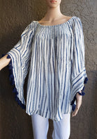 A9-611X Women Stripe Blouse- Blue