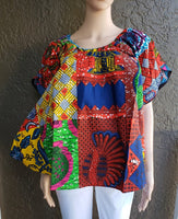 7049- Authentic African print bell blouse-Muti Color