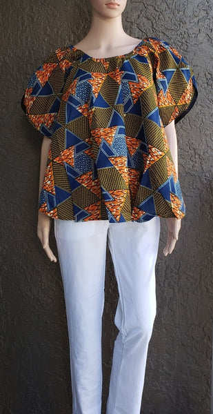 7049- Authentic African print bell blouse- Blue-Orange