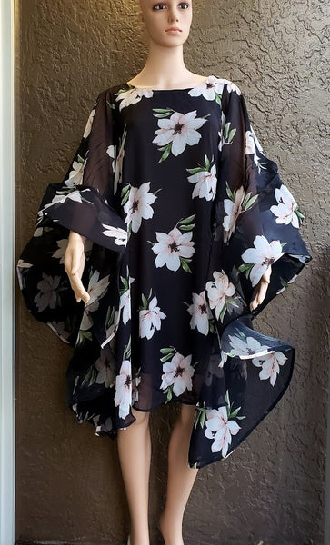 AA17-777 Women Chiffon Dress with Wing Sleeves- black Floral