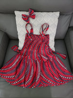 K014 GirlsTube Dress With Hair  Bow -Red
