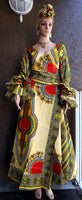 #70 Traditional  Woman Long Wrap Dress-Light Yellow Dashiki