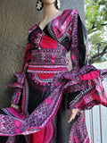 #70 Traditional  Woman Long Wrap Dress- Black/Pink  Dashiki