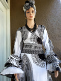 #70 Traditional  Woman Long Wrap Dress - White/Black Dashiki