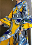 #70 Traditional  Woman Long Wrap Dress-Yellow-Blue Dashiki